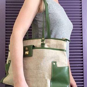 Etienne Aigner Green Faux Leather & Canvas Satchel